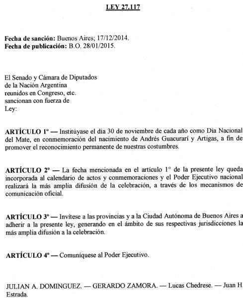 Dia Nacional del Mate Argentina Ley 27.117