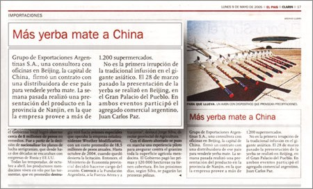 Yerba mate en China, Diario Clarin