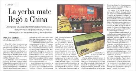 Yerba mate en China, Suplemento de Comercio Exterior del Diario La Nación